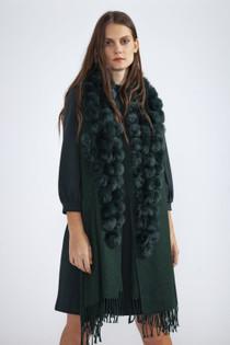 Fur/Pearl Pom Pom Wrap- Green