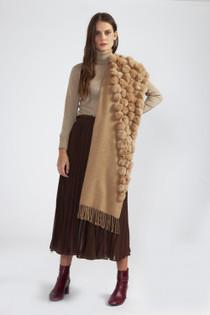 Fur/Pearl Pom Pom Wrap- Mocha