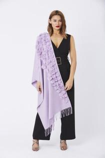Fur/Pearl Pom Pom Wrap- Lilac