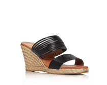 Amy Leather Espadrille Wedge- Black