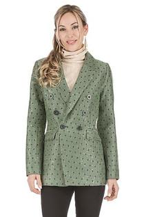 Green Herringbone Double Breasted Jacket
