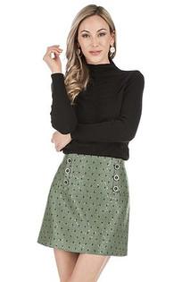 Green Herringbone Button Skirt