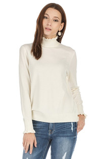 Ruffle Turtleneck Sweater- Ivory