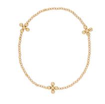 Classic Signature Gold 2mm Bracelet- Beaded Cross