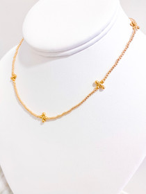 Classic Signature Gold 2mm Choker- Beaded Cross