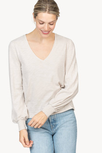 Long Sleeve V-Neck- Alabaster