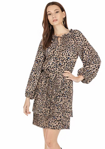 Double Pleated Dress- Taupe Animal Print