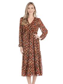 Paisley Midi Dress- Rust