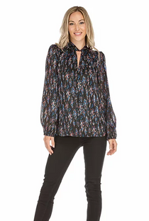 Twist Neck Blouse- Black Abstract