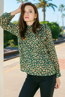 High Neck Ruffle Blouse- Green Cheetah