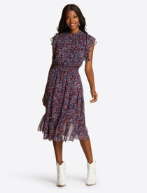 Kacey Faux Wrap Dress- Wispy Floral