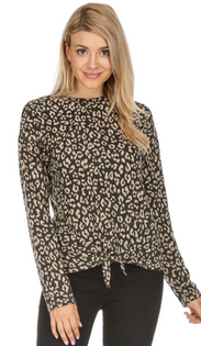 Front Tie Top- Charcoal Leopard