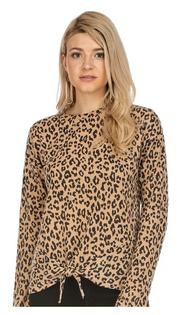 Front Tie Top- Camel Leopard