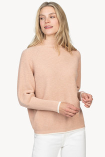 Oversized Funnel Neck Sweater- Pink Sand