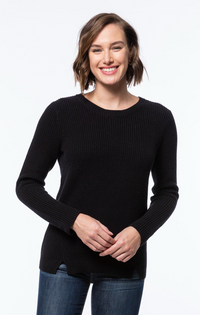 Button Back Mineral Wash Sweater- Onyx