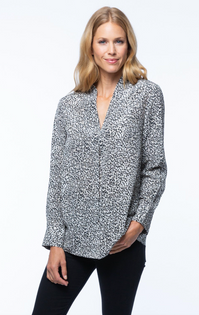Carson Silk Blouse- Grey/Black Leopard
