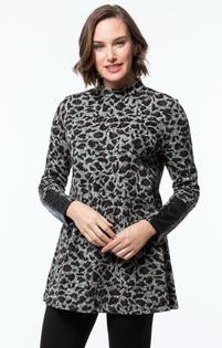 Chrissy Jacquard Tunic- Heathered Cheetah