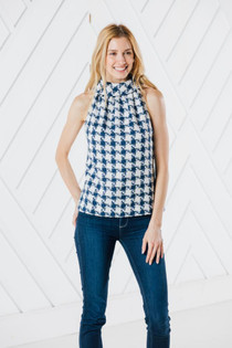 Cowl Neck Top- Houndstooth Sparkle
