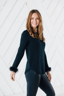 Long Sleeve Round Hem Sweater- Black