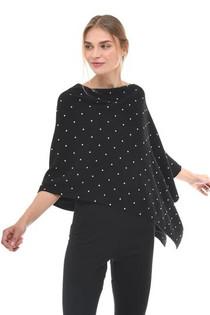 Pearl Embellished Cashmere Topper- Black