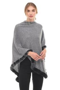Fur Trim Cashmere Topper- Heather Grey