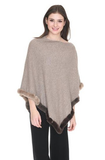 Fur Trim Cashmere Topper- Heather Almond
