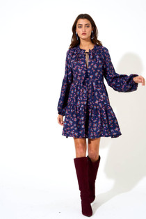 Balloon Sleeve Dress- Navy Leopard
