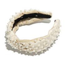 Velvet Pearl Knotted Headband- Ivory