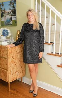 Velvet Long Sleeve Dress- Black Sparkle Leopard