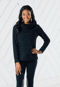 Cowl Neck Pullover- Black Sparkle