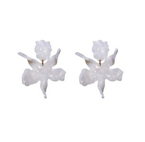 Small Paper Lily Earrings- Mother of Pearl