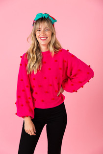 Miller Sweater- Mollie Pink with Red Poms