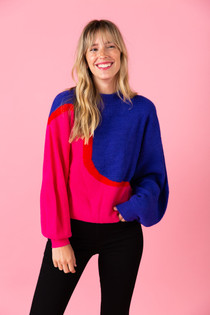 Miller Sweater- Pink Blue Colorblock