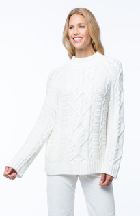 Fisherman Cowlneck Sweater- Pearl