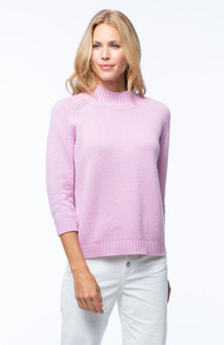 Cashmere Mock Neck Sweater- Pink Mallow