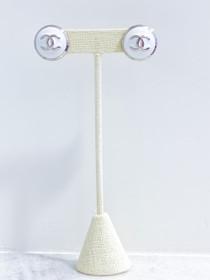 Designer Button Earrings- White/Silver Shiny 'CC' Studs