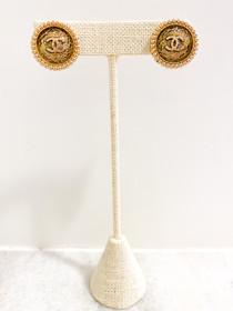 Designer Button Earrings- Gold Beaded Edge 'CC' Studs