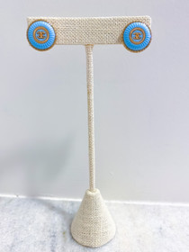 Designer Button Earrings- Bright Blue/Gold 'CC' Studs