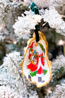 Oyster Shell Ornament- Woodland Santa