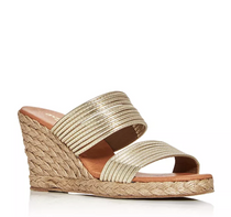 Amy Leather Espadrille Wedge- Platino