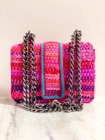 Small Greta Handbag- Pink/Blue Loom