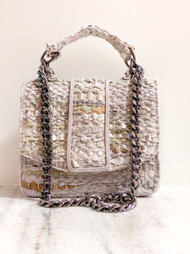 Small Greta Handbag- White Metallic