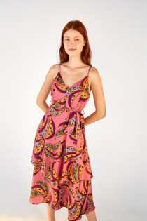Pink Banana Flowers Midi Dress