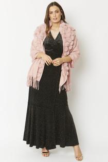Fur/Pearl Pom Pom Wrap- Light Pink
