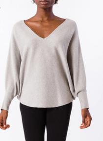 RYU V-Neck Sweater- Heather Grey