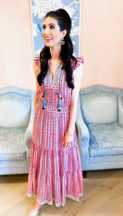 Lola Maxi Dress- Pink Leaf