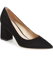 Zala Block Heel Pointy Toe Pump- Black Suede