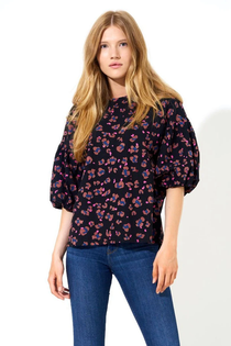 Puff Sleeve Blouse- Black Leopard