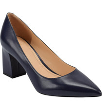 Zala Block Heel Pointy Toe Pump- Black Leather