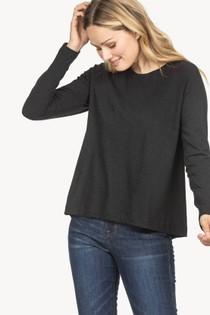 Long Sleeve Pleat Back Top- Black